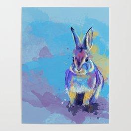Bunny Dream - Fluffy rabbit illustration, cute animal art Poster