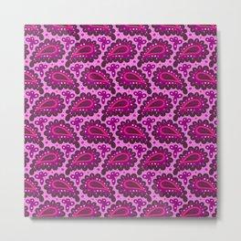 Dark pink paisley seamless pattern. Metal Print