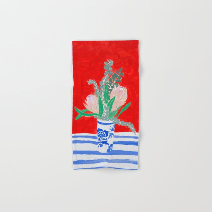 Protea Still Life in Red and Delft Blue Hand & Bath Towel