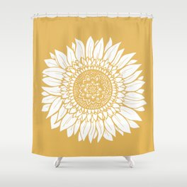 Yellow Sunflower Drawing Shower Curtain