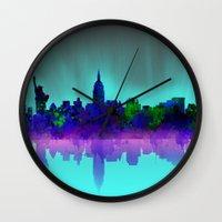 new york skyline Wall Clocks featuring New York skyline by Bekim ART