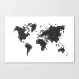 World Map Black Sketch, Map Of The World, Wall Art Poster, Wall Decal, Earth Atlas, Geography Map Canvas Print