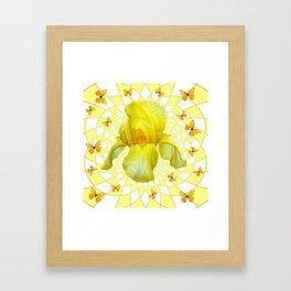YELLOW BUTTERFLIES & YELLOW IRIS WHITE PATTERN ART Framed Art Print