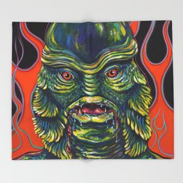 Creature From The Black Lagoon Throw Blanket