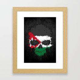 Flag of Jordan on a Chaotic Splatter Skull Framed Art Print