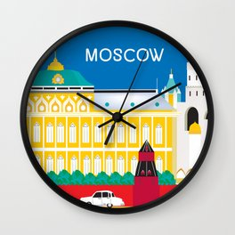 Moscow, Russia - Skyline Illustration by Loose Petals Wall Clock