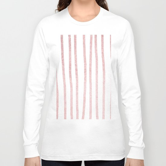 Simply Drawn Vertical Stripes in Rose Gold Sunset Long Sleeve T-shirt
