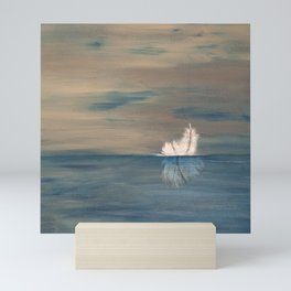 Floating Feather. Abstract Painting by Jodi Tomer. Abstract Feather on Water. Mini Art Print