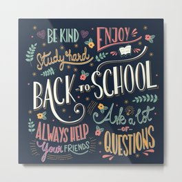 Back to school colorful typography drawing on blackboard with motivational messages, hand lettering Metal Print