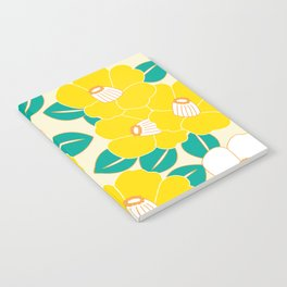 Japanese Style Camellia - Yellow and White Notebook