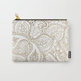 Elegant hand drawn white faux gold luxury floral Carry-All Pouch