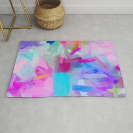 splash painting texture abstract background in pink blue purple Rug