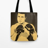 ali Tote Bags featuring Ali by Renan Lacerda