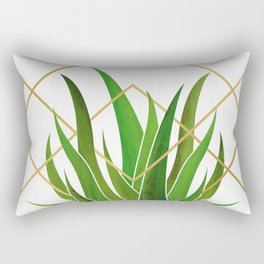 Emerald Succulent with Metallic Gold Diamonds Rectangular Pillow