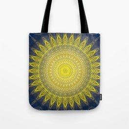 Bright Gold Navy Bohemian Mandala Tote Bag