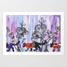 Hearts and Cats Art Print
