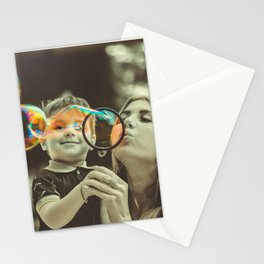 Mother and Son Blowing Bubbles Stationery Cards