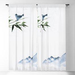 Mountains and little bird Blackout Curtain