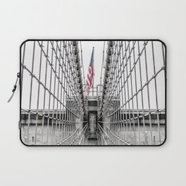 The Brooklyn Bridge and American Flag Laptop Sleeve