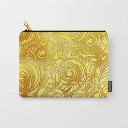 Gold Floral Pattern Carry-All Pouch