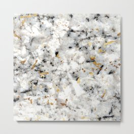 Classic Marble with Gold Specks Metal Print