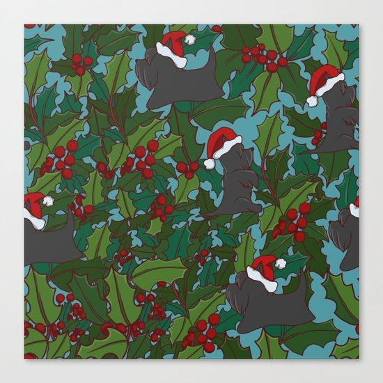 Christmas Dog Pattern Canvas Print