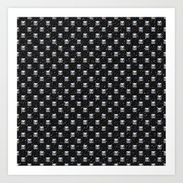 Metal Studs on Black Leather Art Print