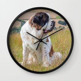St Bernard with a view Wall Clock