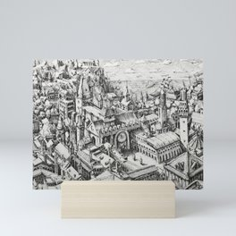 A View Over The Rooftops Towards The Sea Mini Art Print