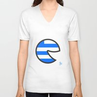 greece V-neck T-shirts featuring Greece Smile by onejyoo