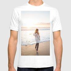 Venice Beach Sunset MEDIUM White Mens Fitted Tee