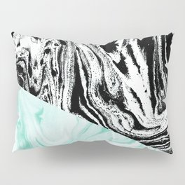 Spilled ink marble black and white mint trendy suminagashi japanese paper marbling Pillow Sham