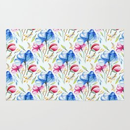 Hand painted pink blue watercolor elegant floral leaves pattern Rug