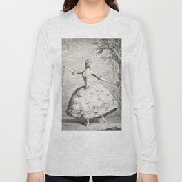 The Dancers, 18th century French ballet woman, black white drawing Long Sleeve T-shirt