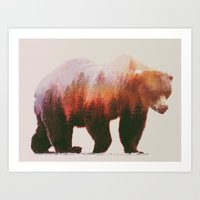 brown Art Prints featuring Brown Bear by Andreas Lie