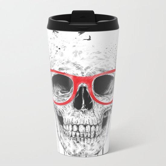 Skull with red glasses Metal Travel Mug