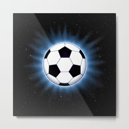 Spacey Soccer Ball Metal Print