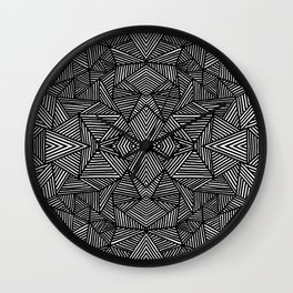black and white abstract lines triangles pattern Wall Clock