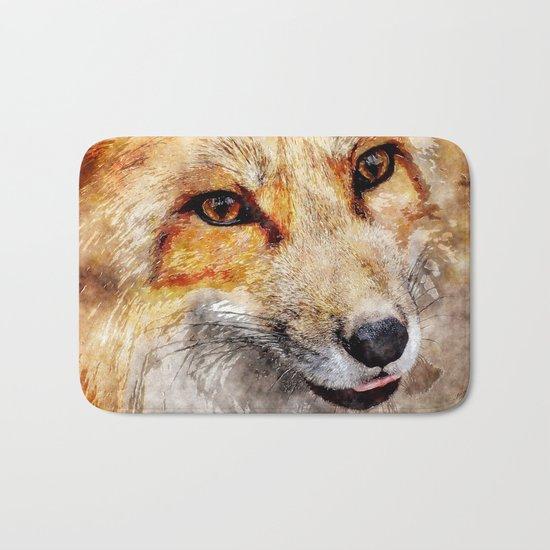 Cute Fox  animal nature watercolor illustration Bath Mat