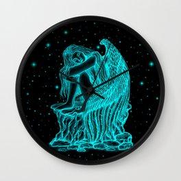 A sleeping Angel , black and green Design Wall Clock