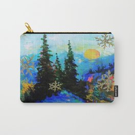 Blue Snowy Mountain Scenic Landscape Carry-All Pouch