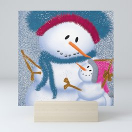 The SnowMomma And SnowGirl Mini Art Print