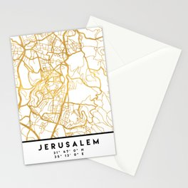 JERUSALEM ISRAEL PALESTINE CITY STREET MAP ART Stationery Cards