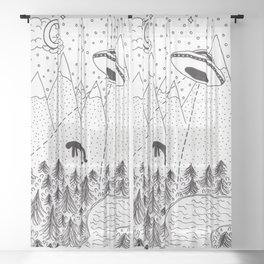 Alien Abduction Sheer Curtain