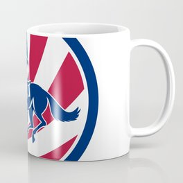American Jockey Horse Racing USA Flag Icon Coffee Mug