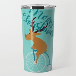 Mr Reindeer having Fun with his Penny-farthing Bicycle Travel Mug