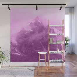 Rocky Mountain Fog Fuchsia Wall Mural