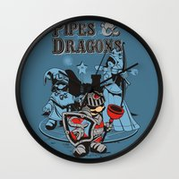 dungeons and dragons Wall Clocks featuring PIPES & DRAGONS by Adams Pinto