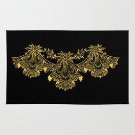 Vintage Lace Hankies Black and Primrose Yellow Rug