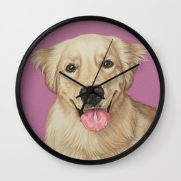 Adorable Golden Retriever Puppy Painting, Puppy Portrait, Sweet and Happy Golden Puppy Art Wall Clock